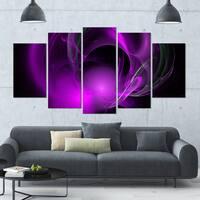 Designart 'Purple Fractal Galactic Nebula' Abstract Wall Art Canvas - 60x32 - 5 Panels Diamond Shape