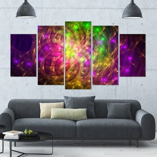 Designart 'Purple Green Symphony of Colors' Abstract Wall Art Canvas - 60x32 - 5 Panels Diamond Shape