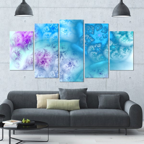 Designart 'Clear Blue Magic Stormy Sky' Abstract Wall Art on Canvas - 60x32 - 5 Panels Diamond Shape
