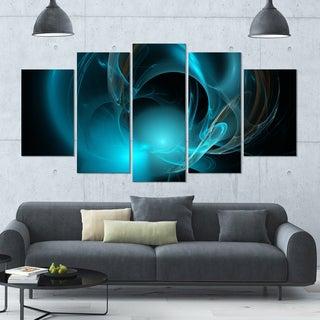 Designart 'Blue Fractal Galactic Nebula' Abstract Wall Art Canvas - 60x32 - 5 Panels Diamond Shape