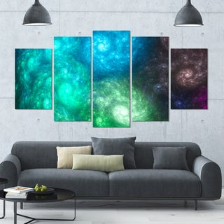 Designart 'Colorful Rotating Fractal Galaxies' Abstract Wall Art Canvas - 60x32 - 5 Panels Diamond Shape