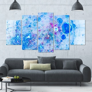 Designart 'Blue Fractal Planet of Bubbles' Abstract Wall Art Canvas - 60x32 - 5 Panels Diamond Shape