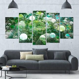 Designart 'Green Fractal Molecule Pattern' Abstract Wall Art Canvas - 60x32 - 5 Panels Diamond Shape
