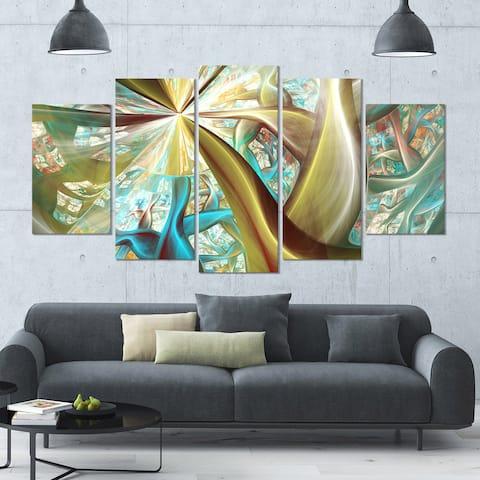 Designart 'Golden Fractal Exotic Plant Stems' Abstract Wall Art on Canvas - 60x32 - 5 Panels Diamond Shape