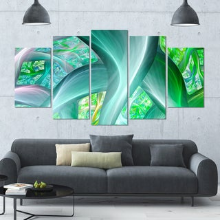 Designart 'Green Fractal Exotic Plant Stems' Abstract Wall Art Canvas - 60x32 - 5 Panels Diamond Shape