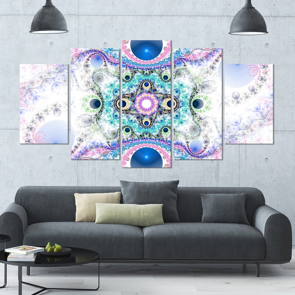 Designart 'Cryptical Blue Fractal Pattern' Abstract Wall Art Canvas - 60x32 - 5 Panels Diamond Shape