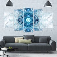 Designart 'Light Blue Fractal Pattern' Abstract Wall Art Canvas - 60x32 - 5 Panels Diamond Shape