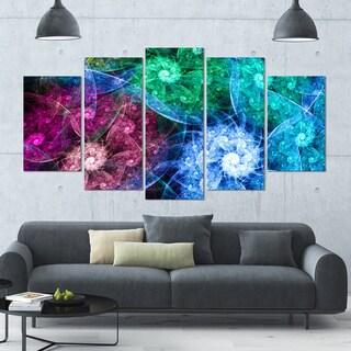 Designart 'Multi-Color Bright Exotic Flowers' Abstract Wall Art Canvas - 60x32 - 5 Panels Diamond Shape