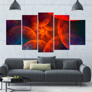 Designart 'Biblical Sky with Red Clouds' Abstract Wall Art Canvas - 60x32 - 5 Panels Diamond Shape