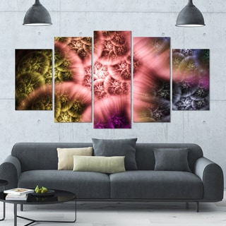 Designart 'Biblical Sky with Multi-Color Clouds' Abstract Wall Art Canvas - 60x32 - 5 Panels Diamond Shape