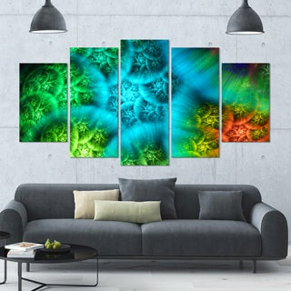 Designart 'Biblical Sky with Green Clouds' Abstract Wall Art Canvas - 60x32 - 5 Panels Diamond Shape