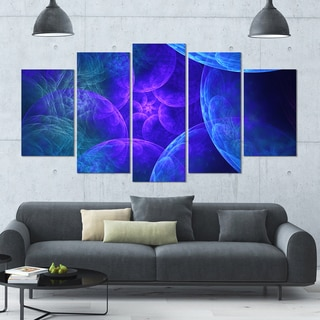 Designart 'Biblical Sky with Blue Clouds' Abstract Wall Art Canvas - 60x32 - 5 Panels Diamond Shape