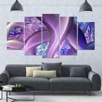 Designart 'Purple Blue Fractal Curves' Abstract Wall Art on Canvas - 60x32 - 5 Panels Diamond Shape