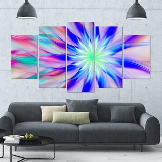 Designart 'Exotic Blue Fractal Spiral Flower' Abstract Wall Art on Canvas - 60x32 - 5 Panels Diamond Shape