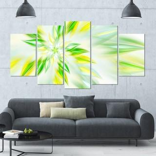 Designart 'Light Green Fractal Spiral Flower' 60x32 5-panel Diamond Shaped Abstract Wall Art on Canvas