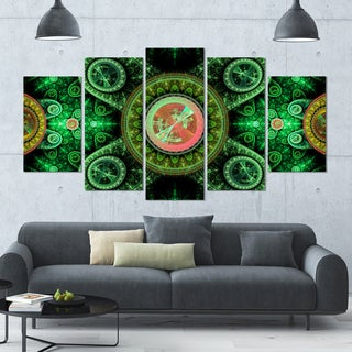 Designart 'Green Psychedelic Relaxing Art' Abstract Wall Art on Canvas - 60x32 - 5 Panels Diamond Shape