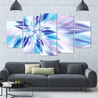 Designart 'Light Blue Fractal Spiral Flower' Abstract Wall Art on Canvas - 60x32 - 5 Panels Diamond Shape