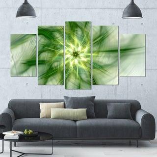 Designart 'Rotating Bright Green Flower' Abstract Wall Art on Canvas - 60x32 - 5 Panels Diamond Shape