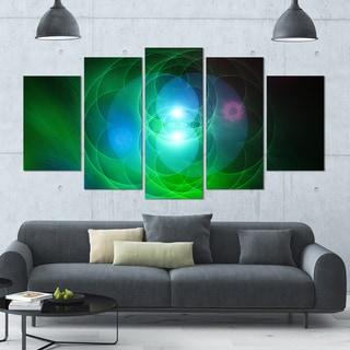 Designart 'Merge Colored Spheres.' Abstract Canvas Art Print - 60x32 - 5 Panels Diamond Shape
