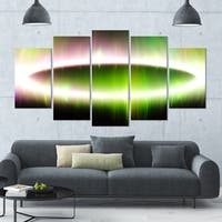 Designart 'Beautiful Green Northern Lights' Abstract Wall Art on Canvas - 60x32 - 5 Panels Diamond Shape