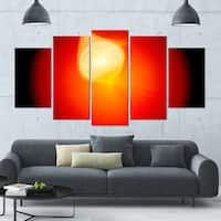 Designart 'Glowing Red Misty Sphere' 60x32 5-panel Diamond Shaped Abstract Wall Art on Canvas