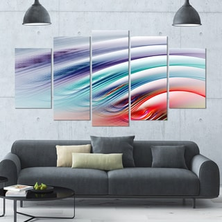 Designart 'Water Ripples Rainbow Waves' 60x32 5-panel Diamond Shaped Abstract Wall Art on Canvas