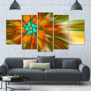 Designart 'Rotating Bright Fractal Flower' Abstract Wall Art on Canvas - 60x32 - 5 Panels Diamond Shape