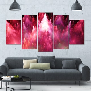 Designart 'Red Fractal Crystals Design' 60x32 5-panel Diamond Shaped Abstract Wall Art on Canvas