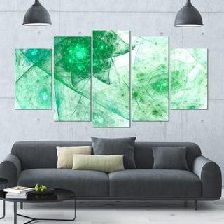 Designart 'Clear Green Rotating Polyhedron' Abstract Canvas Wall Art - 60x32 - 5 Panels Diamond Shape