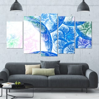 Designart 'Blue White Dramatic Clouds' Abstract Canvas Wall Art - 60x32 - 5 Panels Diamond Shape