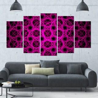 Designart 'Pink Unusual Fractal Metal Grill' Abstract Canvas Wall Art - 60x32 - 5 Panels Diamond Shape