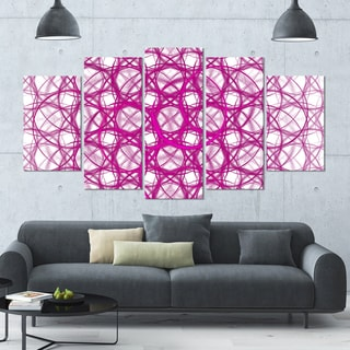 Designart 'Pink Unusual Metal Grill' Abstract Canvas Wall Art - 60x32 - 5 Panels Diamond Shape