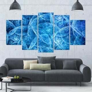 Designart 'Dark Blue Fractal Dramatic Clouds' Abstract Wall Artwork - 60x32 - 5 Panels Diamond Shape