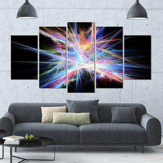 Designart 'Light Blue Spectrum of Light' Abstract Wall Art on Canvas - 60x32 - 5 Panels Diamond Shape