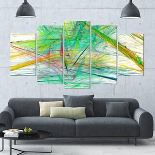 Designart 'Green Magical Fractal Pattern' Abstract Wall Art on Canvas - 60x32 - 5 Panels Diamond Shape