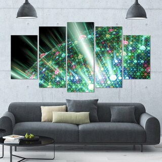 Designart 'Bright Blue Solar Bubbles Planet' Abstract Canvas Wall Art - 60x32 - 5 Panels Diamond Shape
