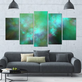 Designart 'Blue Fractal Sky with Blur Stars' Abstract Artwork on Canvas - 60x32 - 5 Panels Diamond Shape