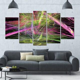 Designart 'Green Pink Magical Fractal Pattern' Abstract Canvas Wall Art - 60x32 - 5 Panels Diamond Shape