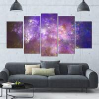 Designart 'Blur Fractal Sky with Stars' Abstract Artwork on Canvas - 60x32 - 5 Panels Diamond Shape