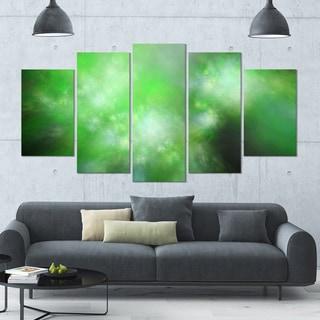 Designart 'Green Blur Sky with Stars' Abstract Artwork on Canvas - 60x32 - 5 Panels Diamond Shape
