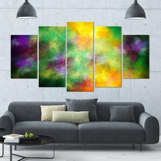 Designart 'Colorful Sky with Blur Stars' Abstract Artwork on Canvas - 60x32 - 5 Panels Diamond Shape