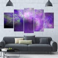 Designart 'Perfect Light Purple Starry Sky' 60x32 5-panel Diamond Shaped Abstract Wall Artwork