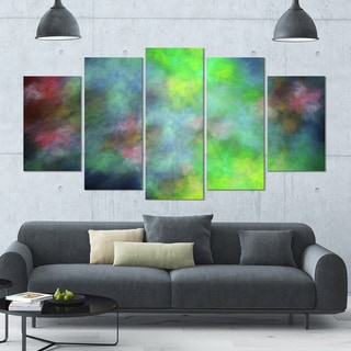 Designart 'Green Blue Sky with Stars' Abstract Artwork on Canvas - 60x32 - 5 Panels Diamond Shape