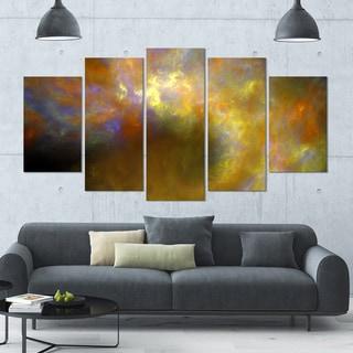 Designart 'Blur Yellow Sky with Stars' Abstract Artwork on Canvas - 60x32 - 5 Panels Diamond Shape
