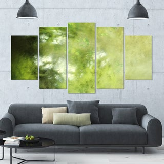 Designart 'Blur Green Sky with Stars' Abstract Artwork on Canvas - 60x32 - 5 Panels Diamond Shape