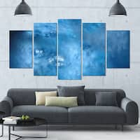 Designart 'Blur Clear Blue Sky with Stars' Abstract Artwork on Canvas - 60x32 - 5 Panels Diamond Shape