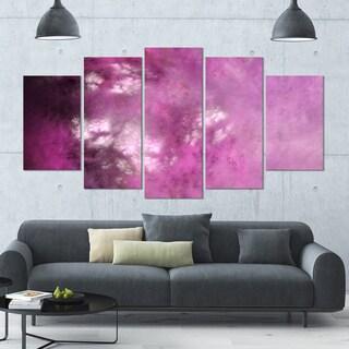 Designart 'Blur Pink Sky with Stars' Abstract Artwork on Canvas - 60x32 - 5 Panels Diamond Shape
