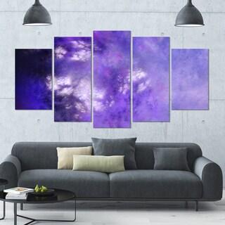 Designart 'Blur Purple Sky with Stars' Abstract Artwork on Canvas - 60x32 - 5 Panels Diamond Shape