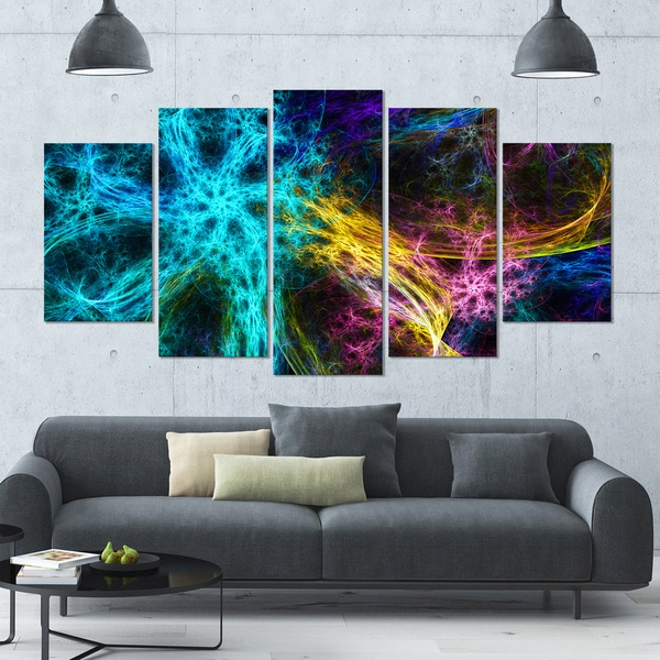 Designart 'Glowing Abstract Fireworks' Abstract Artwork on Canvas - 60x32 - 5 Panels Diamond Shape