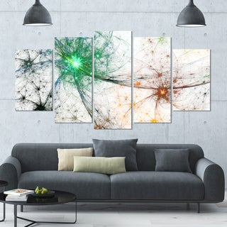 Designart 'Abstract Colorful Fireworks' Abstract Artwork on Canvas - 60x32 - 5 Panels Diamond Shape